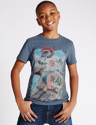 Skate Meerkat Print T-Shirt (5-14 Years), DENIM, catlanding