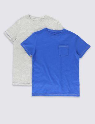 Хлопковая футболка с нагрудным карманом для мальчика 5-14 лет (2 шт) от Marks & Spencer