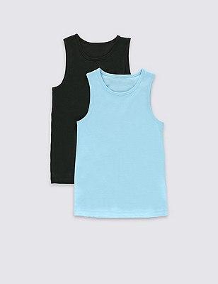 2 Pack Pure Cotton Vests (5-14 Years), BLUE MIX, catlanding