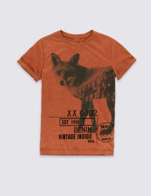 Хлопковая футболка с винтажным принтом для мальчика 5-14 лет