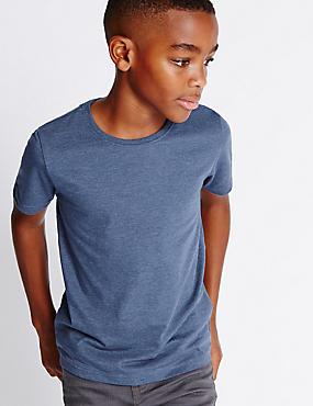 Cotton Blend Short Sleeve T-Shirt (5-14 Years), DENIM MIX, catlanding