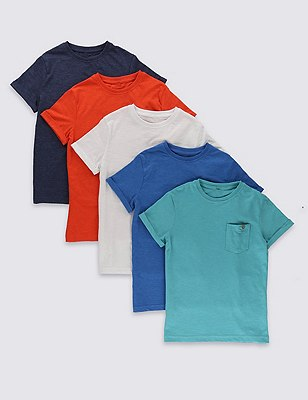 5 Pack Cotton Rich Assorted T-Shirts (5-14 Years), MULTI, catlanding