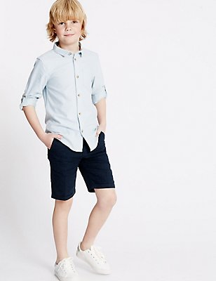 Linen Blend Shorts (1-14 Years), NAVY, catlanding