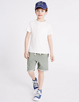 Pure Cotton Shorts (3-14 Years), NAVY, catlanding