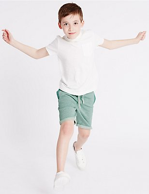 Pure Cotton Shorts (3-14 Years), GREEN MIX, catlanding
