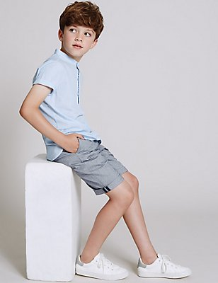 Pure Cotton Herringbone Chino Shorts (3-14 Years), NAVY MIX, catlanding