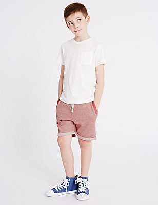 Pure Cotton Shorts (3-14 Years), RED, catlanding