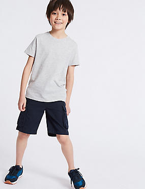 Pure Cotton Cargo Shorts (3-16 Years), NAVY, catlanding