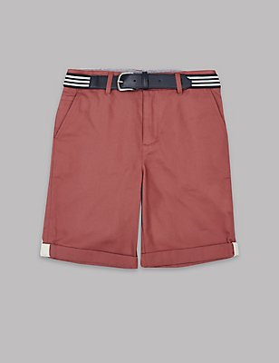 Pure Cotton Chino Shorts with Belt (3-14 Years), RED MIX, catlanding