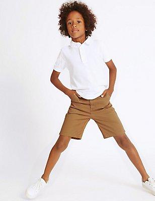Pure Cotton Chino Shorts (3-14 Years), STONE, catlanding