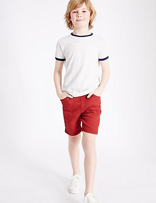 Denim Shorts (3-14 Years), RED, catlanding