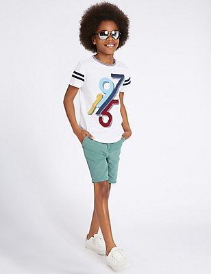 Pure Cotton Chino Shorts (3-14 Years), SEA GREEN, catlanding