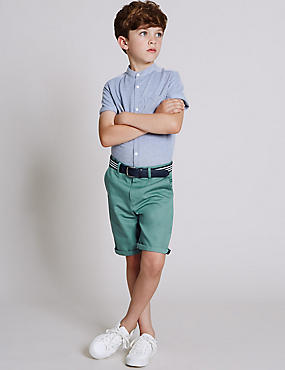 Pure Cotton Chino Shorts with Belt (3-14 Years), GREEN, catlanding