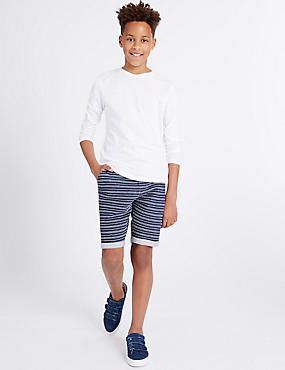 Strukturierte Shorts aus reiner Baumwolle (3–14 Jahre), INDIGO DUNKEL, catlanding