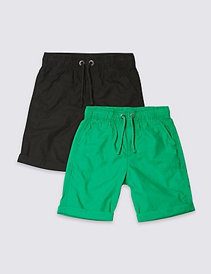 2 Pack Pure Cotton Shorts (3-14 Years), MULTI, catlanding