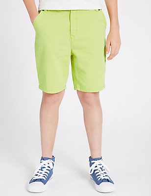 Pure Cotton Shorts (3-14 Years), PALE LIME, catlanding