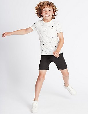Linen Rich Shorts (3-14 Years), EBONY, catlanding
