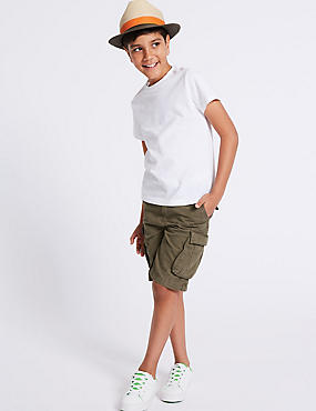 Pure Cotton Cargo Shorts (3-16 Years), STONE, catlanding