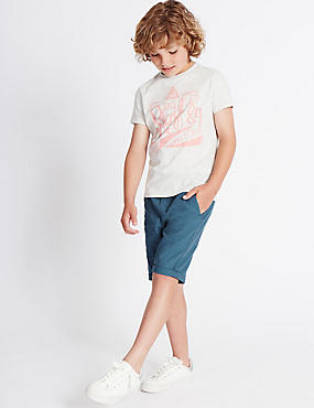 Cotton Blend Shorts (3-14 Years), BLUE, catlanding