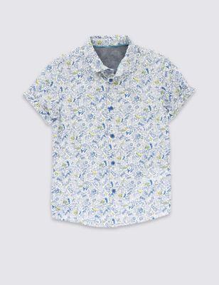 Рубашка из чистого хлопка с абстрактным принтом для мальчика 5-14 лет T873100F