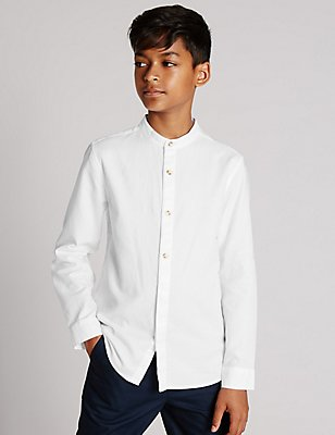 Pure Cotton Waffle Shirt (5-14 Years), WHITE, catlanding
