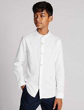 Pure Cotton Waffle Shirt (5-14 Years), WHITE, catlanding