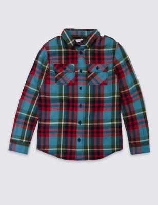 Рубашка в клетку с карманами на пуговичках