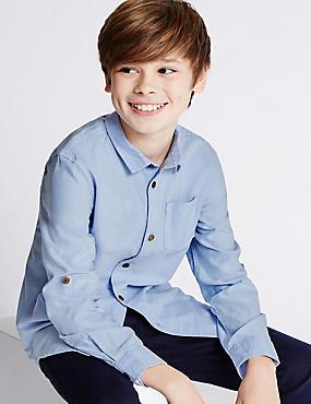 Pure Cotton Long Sleeve Shirt (5-14 Years), BLUE, catlanding