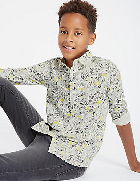 Pure Cotton All Over Print Shirt (5-14 Years), BLACK MIX, catlanding