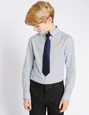 Pure Cotton Shirt with Tie (5-14 Years)