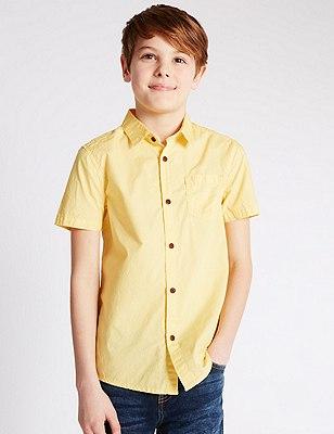 Pure Cotton Short Sleeve Shirt (5-14 Years), YELLOW, catlanding