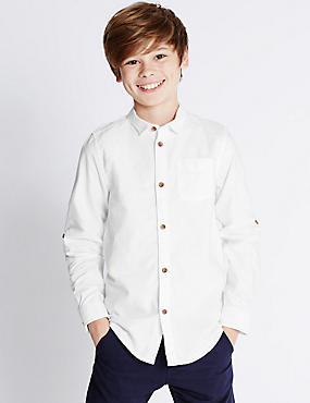 Pure Cotton Rolled Sleeve Oxford Shirt (5-14 Years), WHITE, catlanding