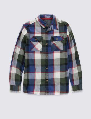 Рубашка из чистого хлопка в крупную клетку для мальчика 5-14 лет от Marks & Spencer