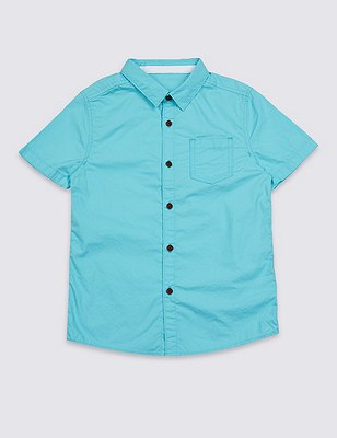 Pure Cotton Short Sleeve Shirt (5-14 Years), TURQUOISE, catlanding