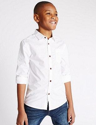 Pure Cotton Long Sleeve Shirt (5-14 Years), WHITE, catlanding