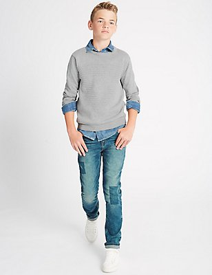 Cotton Jeans with Stretch (3-14 Years), DENIM, catlanding