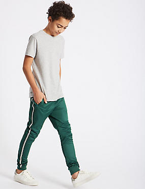 Cotton Rich Joggers (3-16 Years), GREEN, catlanding