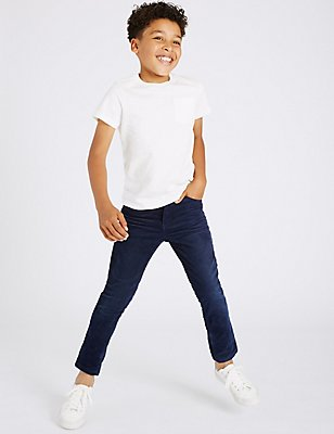 Cotton Cord Trousers with Stretch (3-14 Years), NAVY, catlanding