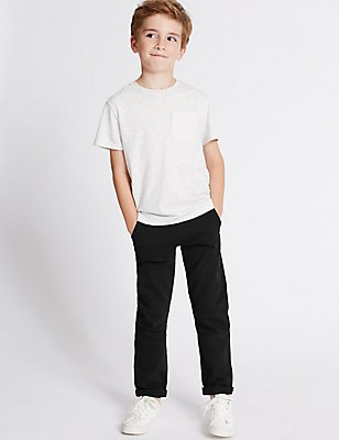 Cotton Rich Trousers with Stretch (3-14 Years), BLACK, catlanding