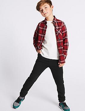 Cotton Rich Trousers (3-14 Years), BLACK, catlanding
