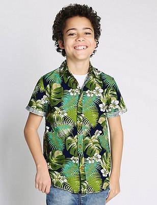 Pure Cotton Floral Shirt (5-14 Years), MULTI, catlanding
