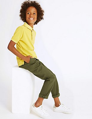 Cotton Chinos with Stretch (3-14 Years), GREEN, catlanding