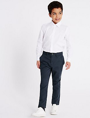 Pure Cotton Chinos (3-14 Years), NAVY, catlanding