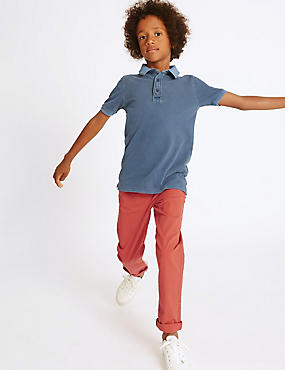 Cotton Chinos with Stretch (3-14 Years), RED, catlanding