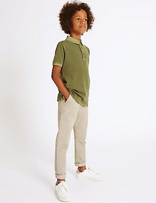 Cotton Chinos with Stretch (3-14 Years), STONE, catlanding