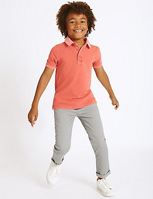 Cotton Chinos with Stretch (3-14 Years), GREY, catlanding