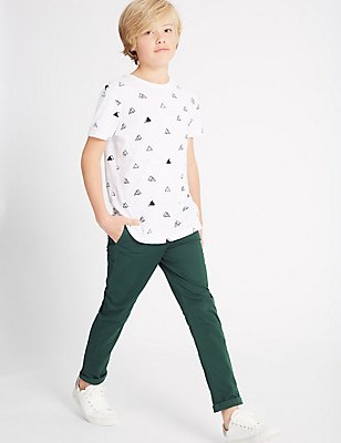 Cotton Chino Trousers with Stretch (3-14 Years), DARK GREEN MIX, catlanding