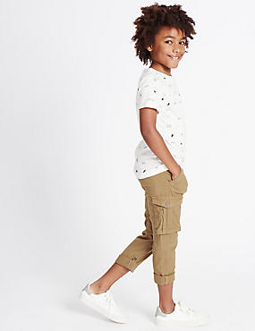 Linen Cargo Trousers (3-14 Years), LIGHT BROWN, catlanding