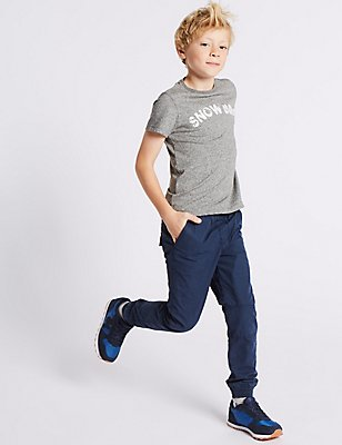 Pure Cotton Joggers (3-14 Years), NAVY, catlanding