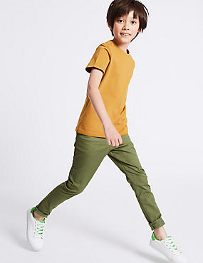 Cotton Chinos with Stretch (3-16 Years), KHAKI, catlanding